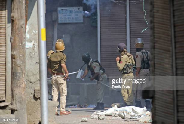 Indian police men fired shear gas shell towards protesters in Habba Kadal soon after mysterious braid chopping incident in the area more then 100...