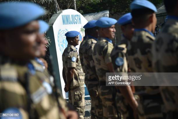 Indian Police officers of the UN Formed Police Unit attend the opening ceremony of the United Nations Mission for Justice Support in Haiti held at...