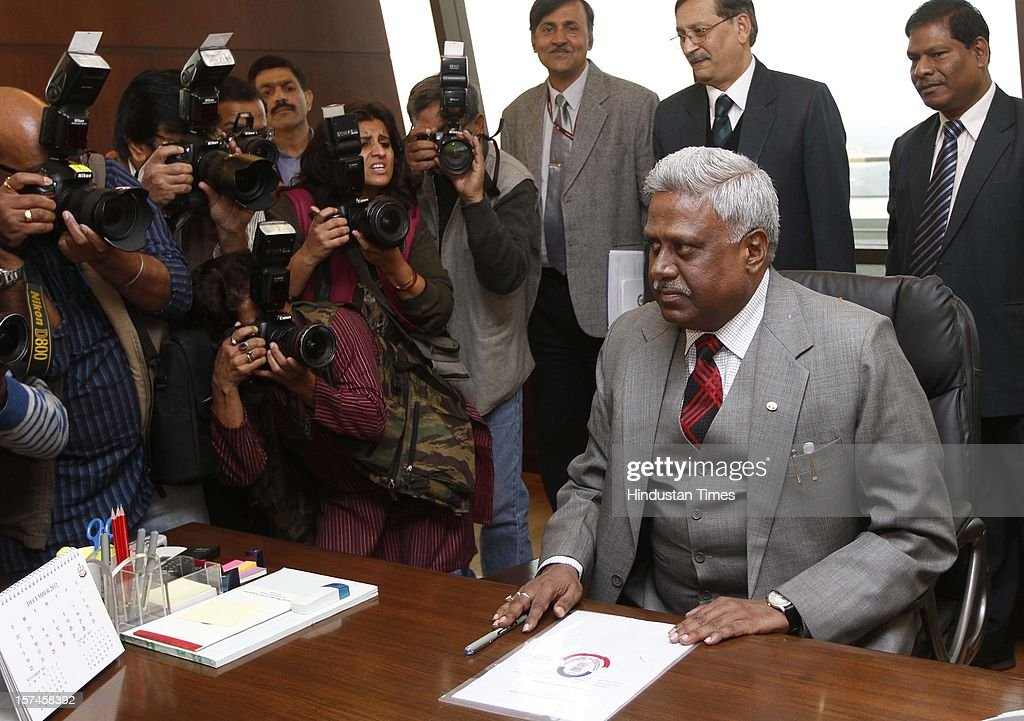 Indian Police Service officer Ranjit Sinha taking charge as the new Director of Central Bureau of Investigation on December 3 2012 in New Delhi India...