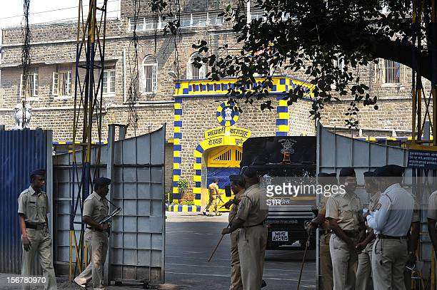 Indian police stand guard outside the highsecurity Yerwada Jail where Pakistanborn Mohammed Kasab the sole surviving gunman of the 2008 Mumbai...