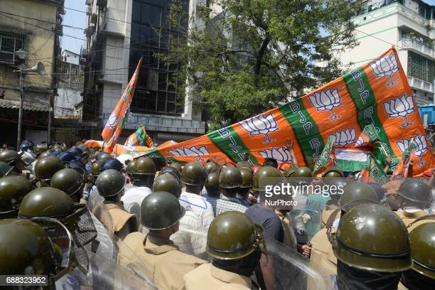 Indian police stopped the Bharatiya Janata Party activists during their march to the police headquarters in Kolkata India on Thursday 25th...