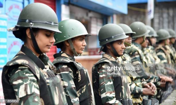 Indian policemen during the Gorkha Janmukti Morcha strike on 9 July 2017 in Darjeeling India Eastern India's hill resort of Darjeeling has been...