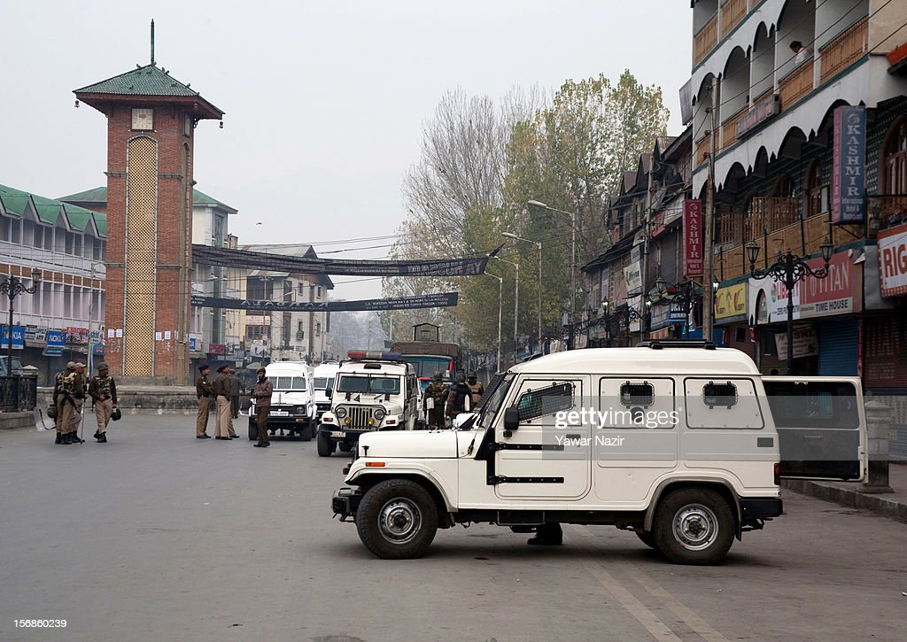 Indian policemen guard the city centre during restrictions on November 23, 2012 in Srinagar, the summer capital of Indian administered Kashmir, India. Hundreds of Shiite Muslim mourners were detained by the Indian police as they tried to take part in the procession. Muslims all over the world mourn during Muharram, the first month of Islamic lunar calendar, the slaying of Imam Hussain, grandson of the Prophet Mohammed who was assassinated by his political rivals along with 72 companions in 680 AD in Iran. Shiite Muslims mourn by flagellating themselves with knives and swords. India has banned any processions and similar public gatherings in Kashmir after a rebellion against Indian rule broke out in 1989.