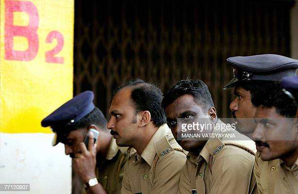Indian policemen report for duty at the Jawaharlal Nehru Stadium in Kochi 01 October 2007 on the eve of the second One Day International cricket...
