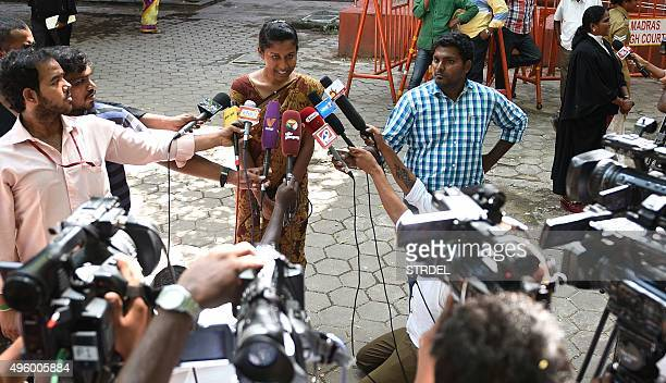Indian policewoman K Prithika Yashini speaks to media after a judgement cleared legal hurdles allowing her to become India's first transgender Sub...