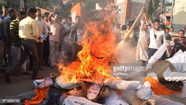 Indian Political Party of Trinamool Congress supporters burn effigy's Indian Prime Minister Narendra ModiBJP President Amit ShahUnion Finances...