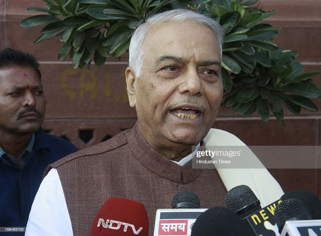 Indian politician and a former finance minister Yashwant Sinha talking with media persons after attending parliament winter session on December 17, 2012 in New Delhi, India.