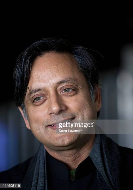 Indian politician and novelist Shashi Tharoor attends the Hay Festival on May 28 2011 in HayonWye Wales