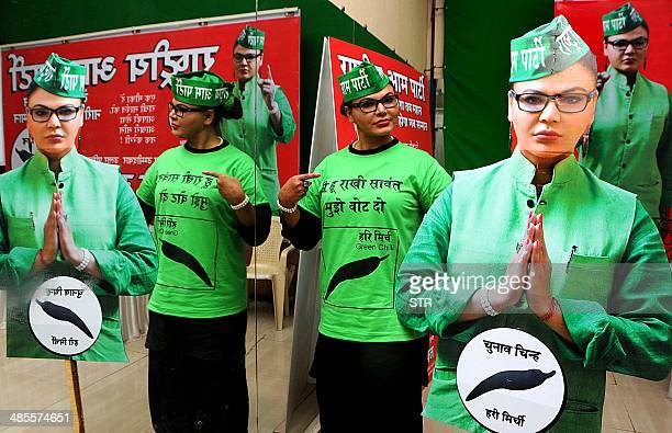 Indian politician Bollywood film actress dancer item girl and television actress Rakhi Sawant poses during the launch of her party's logo and...