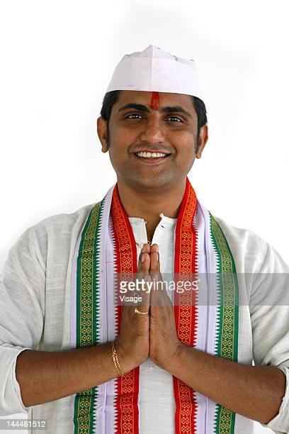 Indian politician greeting namaste