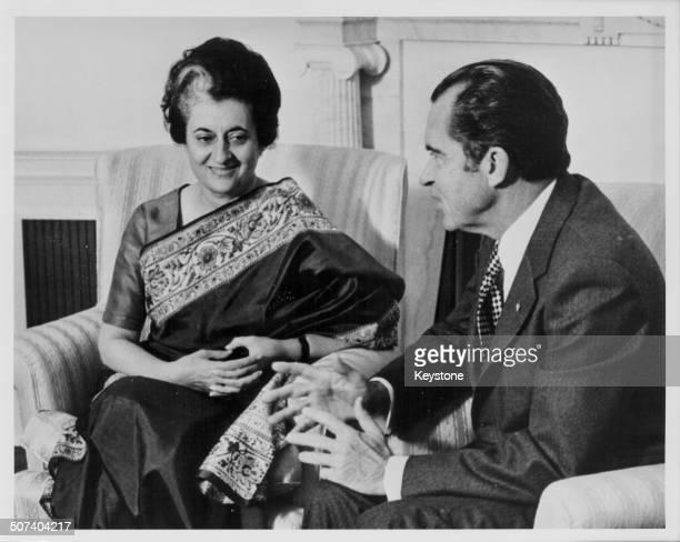 Indian politician Indira Gandhi and US President Richard Nixon talking at the White House Washington D C USA November 9th 1971