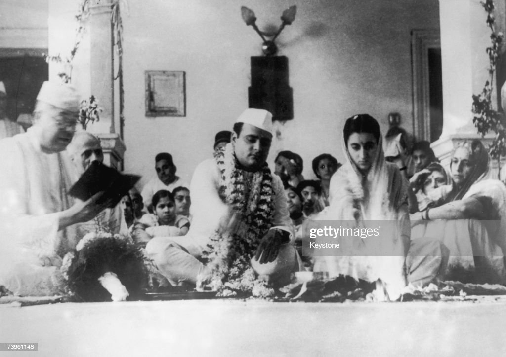 Indian politician Indira Gandhi with politician and journalist Feroze Gandhi at their wedding in Allahabad India 8th October 1942