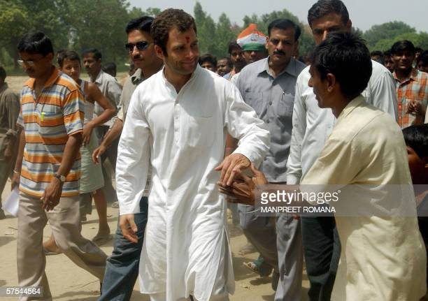 Indian politician Rahul Gandhi son of President of the Congress Party and Chairperson of the United Progressive Alliance Government Sonia Gandhi is...