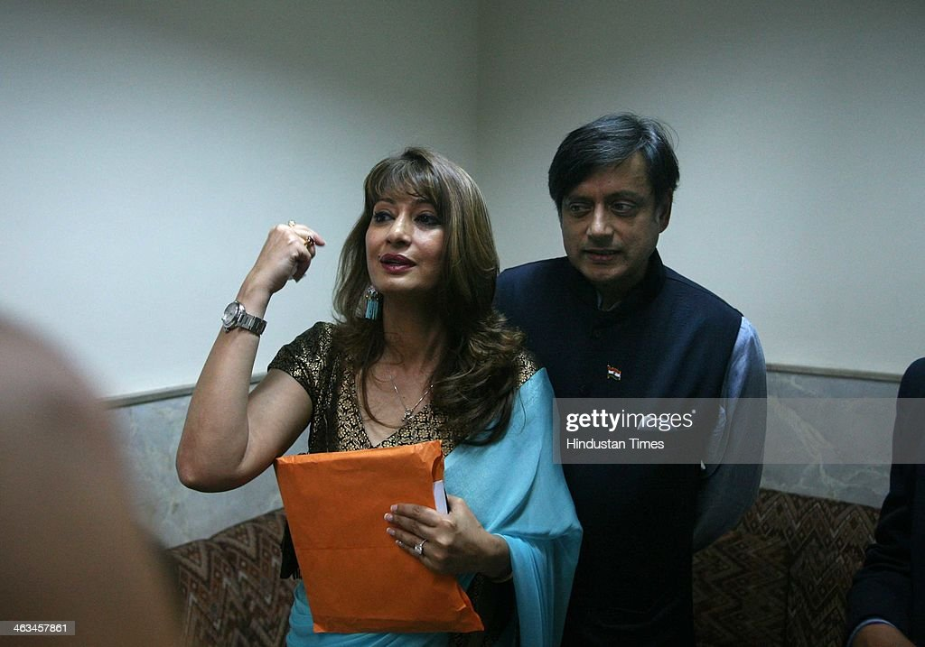 Indian politician Shashi Tharoor with his wife Sunanda Pushkar Tharoor at Lalit Doshi Memorial Award 2009-2010 at Y.B. Chavan Auditorium, Churchgate on August 6, 2010 in Mumbai, India. Sunanda Pushkar, the 52-year-old industrialist wife of Union HRD minister Shashi Tharoor was found dead on Friday at a seven-star hotel where the couple had checked in together a day earlier, the police said. News of her death emerged late in the evening, coming within two days of her Twitter spat with a Pakistani journalist, Mehr Tarar, over an alleged affair with the minister. Pushkar, who has business interests in Dubai and was the Congress minister's third wife, was found dead in the bedroom of The Leela Palace suite number 345 around 8.15pm. Mehr Tarar, a columnist with Pakistan's Daily Times, reacted to the news of Pushkar's death in two consecutive tweets: What the hell. Sunanda. Oh my God and I just woke up and read this. Im absolutely shocked. This is too awful for words. So tragic I dont know what to say. Rest in peace, Sunanda.