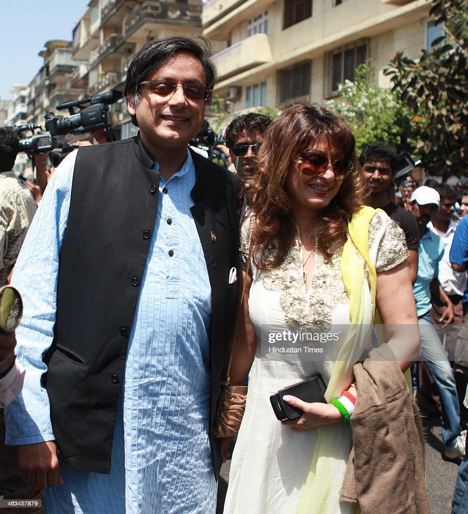 Indian politician Shashi Tharoor with his wife Sunanda Pushkar Tharoor outside Wankhede Stadium, while entering to watch ICC cricket World cup Final match between India and Srilanka on April 2, 2011 in Mumbai, India. Sunanda Pushkar, the 52-year-old industrialist wife of Union HRD minister Shashi Tharoor was found dead on Friday at a seven-star hotel where the couple had checked in together a day earlier, the police said. News of her death emerged late in the evening, coming within two days of her Twitter spat with a Pakistani journalist, Mehr Tarar, over an alleged affair with the minister. Pushkar, who has business interests in Dubai and was the Congress minister's third wife, was found dead in the bedroom of The Leela Palace suite number 345 around 8.15pm. Mehr Tarar, a columnist with Pakistan's Daily Times, reacted to the news of Pushkar's death in two consecutive tweets: What the hell. Sunanda. Oh my God and I just woke up and read this. Im absolutely shocked. This is too awful for words. So tragic I dont know what to say. Rest in peace, Sunanda.