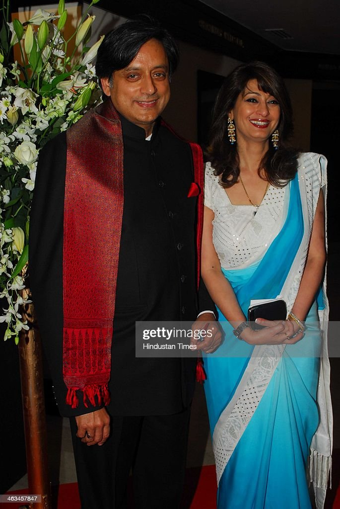 Indian politician Shashi Tharoor with his wife Sunanda Pushkar Tharoor during the Second edition of sports memorabilia auction at The Trident, Nariman Point on February 11, 2012 in Mumbai, India. Sunanda Pushkar, the 52-year-old industrialist wife of Union HRD minister Shashi Tharoor was found dead on Friday at a seven-star hotel where the couple had checked in together a day earlier, the police said. News of her death emerged late in the evening, coming within two days of her Twitter spat with a Pakistani journalist, Mehr Tarar, over an alleged affair with the minister. Pushkar, who has business interests in Dubai and was the Congress minister's third wife, was found dead in the bedroom of The Leela Palace suite number 345 around 8.15pm. Mehr Tarar, a columnist with Pakistan's Daily Times, reacted to the news of Pushkar's death in two consecutive tweets: What the hell. Sunanda. Oh my God and I just woke up and read this. Im absolutely shocked. This is too awful for words. So tragic I dont know what to say. Rest in peace, Sunanda.