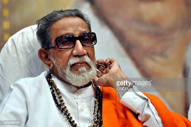 Indian politician Shiv Sena chief Bal Thackeray attends the 'Deenanath Mangeshkar Puraskar Awards 2012' ceremony in Mumbai on April 24 2012 AFP...