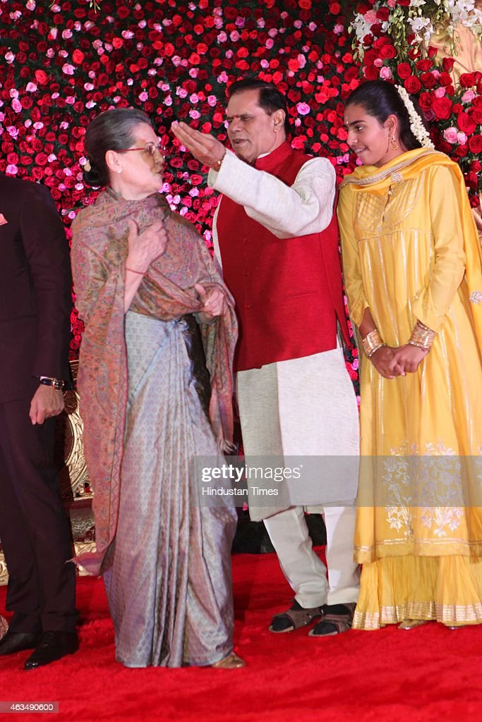 Indian politicians <a gi-track='captionPersonalityLinkClicked' href=/galleries/search?phrase=Sonia+Gandhi&family=editorial&specificpeople=2287581 ng-click='$event.stopPropagation()'>Sonia Gandhi</a> with T Subbarami Reddy and Miraya Vadra (R) during the wedding reception of his grandson Rajiv Reddy and Kavya at Ashoka Hotel on February 10, 2015 in New Delhi, India.