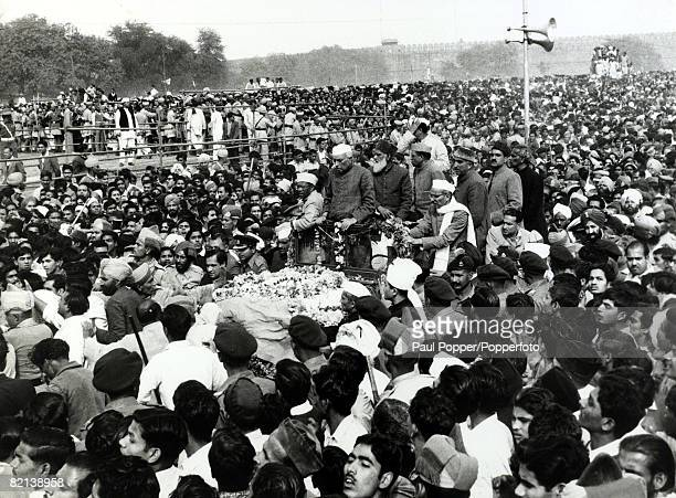 25th February 1958 The funeral in Delhi of Maulana Abdul Kalam Azad the Education Minister and top Congress Leader one of the architects of India's...