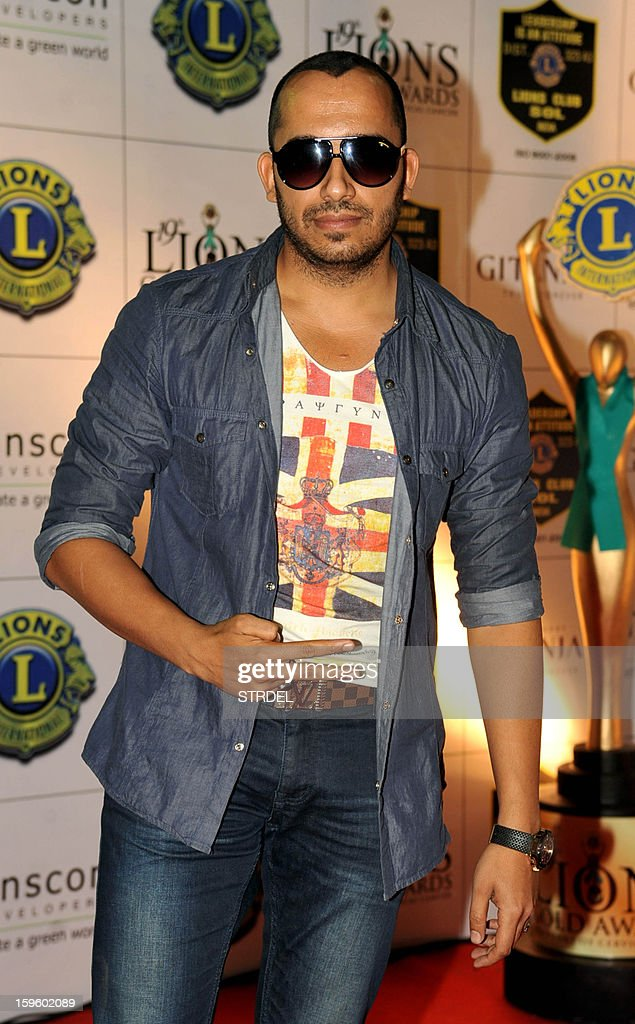 Indian pop singer Ali Quli Mirza poses during the Lions Gold Awards ceremony in Mumbai on January 16, 2013.