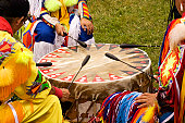 Beating Drum at Indian Pow Wow  Teamwork Colorful regalia