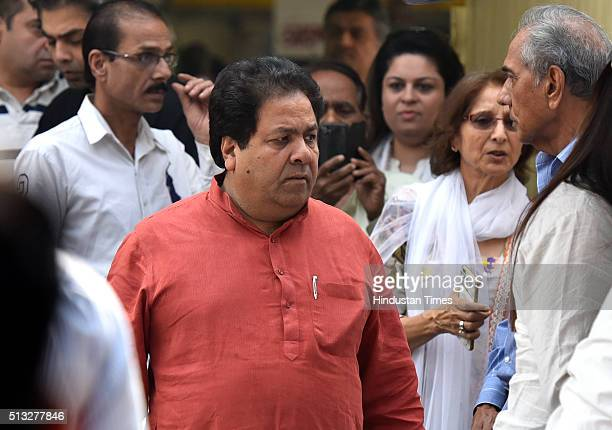 Indian Premier League Chairman Rajeev Shukla at cremation ceremony of Shah Rukh Khan's fatherinlaw Colonel Ramesh Chibber at Lodhi Road Crematorium...