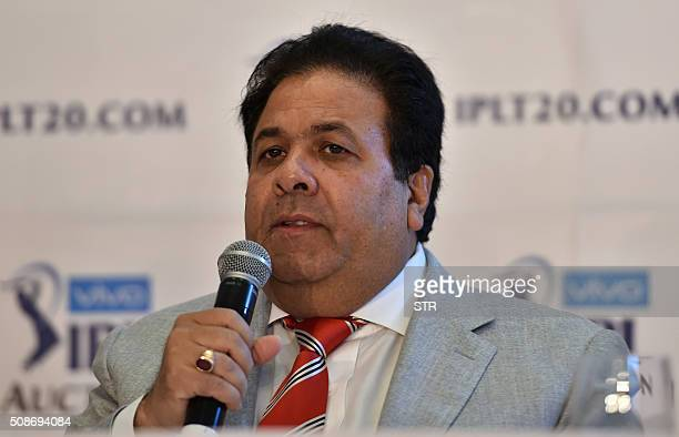 Indian Premier League chairman Rajiv Shukla addresses a press conference during the IPL auction in Bangalore on February 6 2016 Australian allrounder...