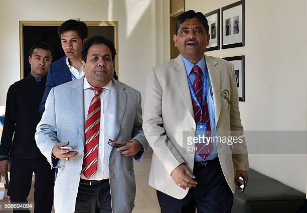 Indian Premier League chairman Rajiv Shukla and CEO Rathnakar Shetty arrive for the IPL auction in Bangalore on February 6 2016 Australian allrounder...