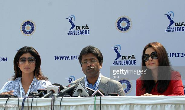Indian Premier League's Lalit Modi Bollywood actress and coowner of Kings XI Punjab Preity Zinta and Bollywood actress and coowner of the Rajasthan...