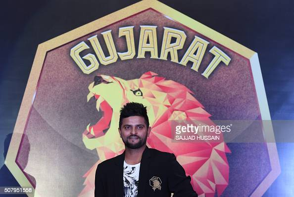 Indian Premier League's Rajkot team captain Suresh Raina poses for photographers at a press conference in New Delhi on February 2 2016 The...