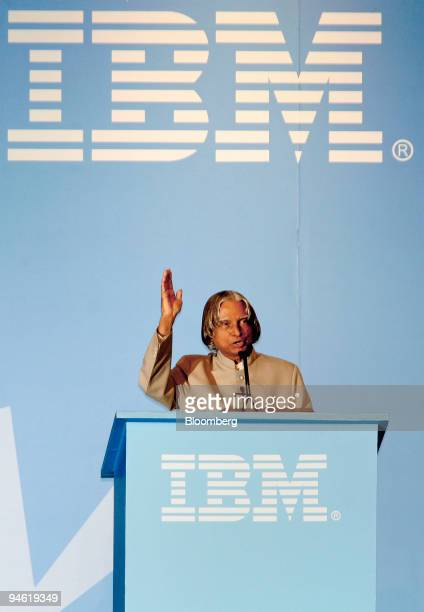 Indian President A P J Abdul Kalam speaks at IBM Global Briefing Investor's meeting in Bangalore India Tuesday June 6 2006 International Business...