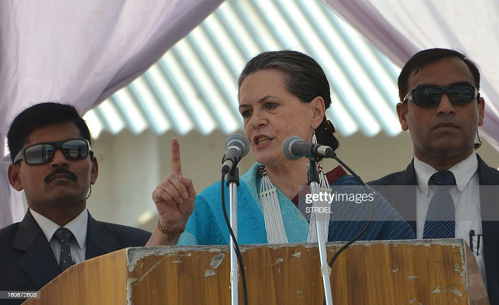 Indian President of the All India Congress Committee (AICC), Sonia Gandhi, gestures during an election campaign rally in Dimapur,in the northeastern state of Nagaland on February 7, 2013. Gandhi campaigned ahead of the assembly elections of the Indian eastern state of Nagaland which goes to the polls in February. AFP PHOTO/ STR