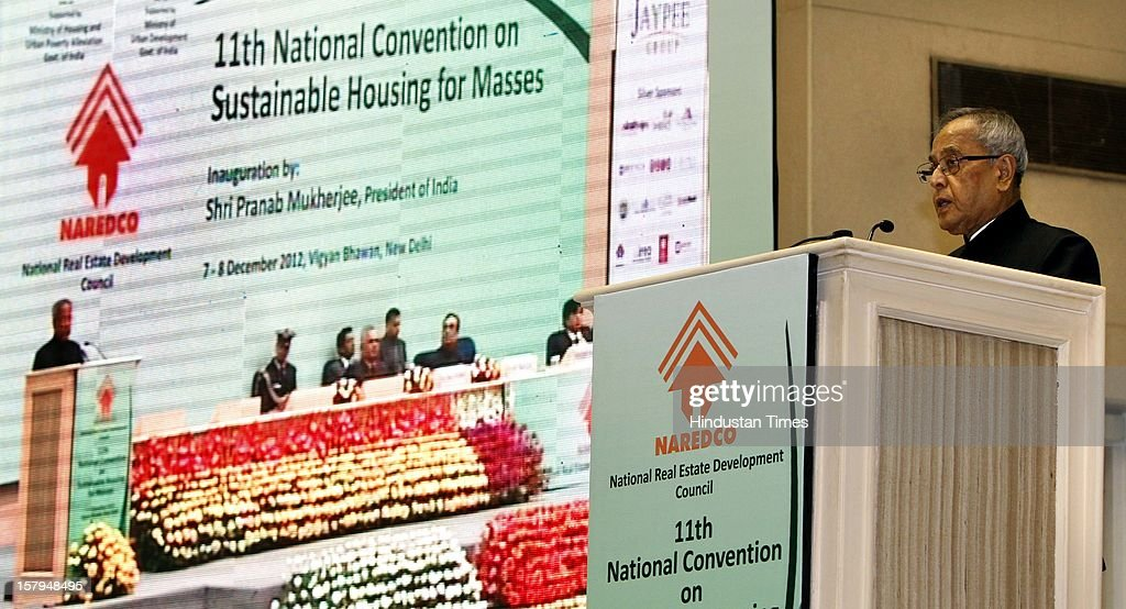 Indian President Pranab Mukherjee addresses at the inauguration of Eleventh National Convention on 'Sustainable Housing Masses' at Vigyan Bhavan on December 7, 2012 in New Delhi, India.