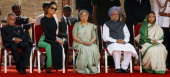 Indian President Pratibha Patil Prime Minister Manmohan Singh with his wife Gursharan Kaur Al Thani's wife Sheikha Mozah bint Nasser Al Missned and...
