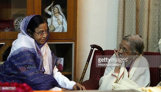 Indian President Pratibha Patil talks with Janaki Wife of former president late R Venkataraman in New Delhi on January 28 2009 Former president R...
