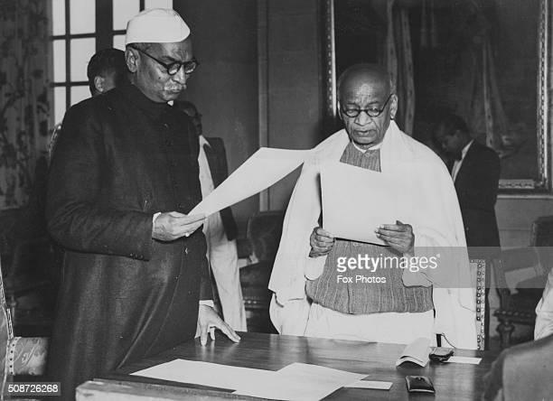 Indian President Rajendra Prasad swearing in new cabinet minister Sardar Vallabhbhai Patel as India becomes a republic January 30th 1950