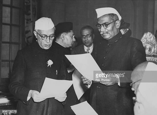 Indian President Rajendra Prasad swearing in new Prime Minister Jawaharlal Nehru as India becomes a republic January 30th 1950