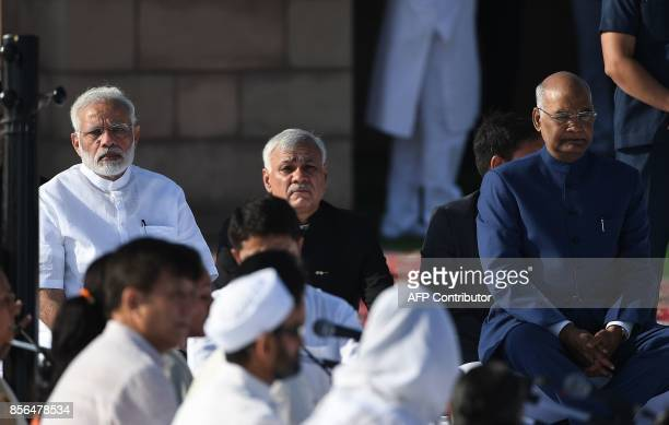 Indian President Ram Nath Kovind and Prime Minsiter Narendra Modi attends a tribute ceremony on the 148th Birth Anniversary of Mahatma Gandhi at...
