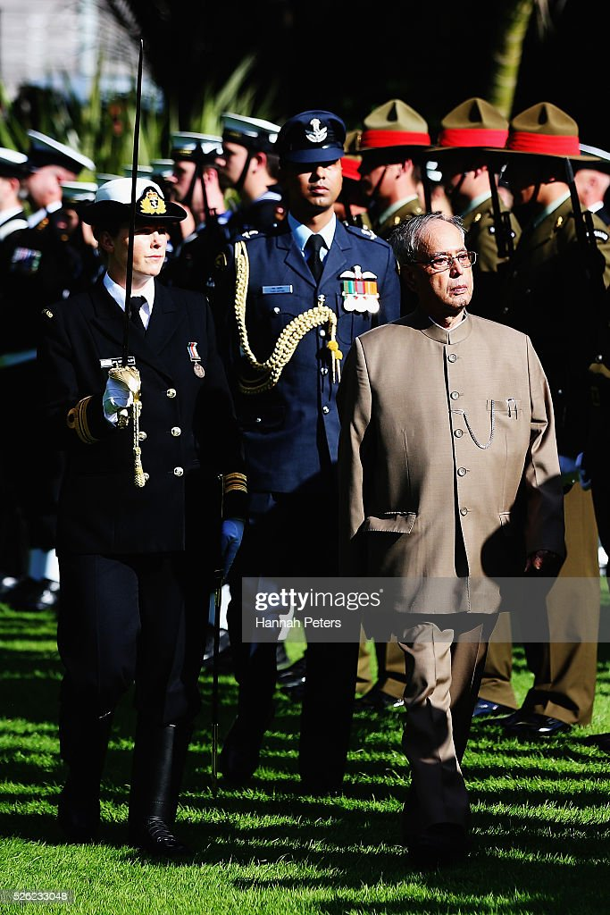 Indian President Shri Pranab Mukherjee inspects the New Zealand guard of honour during a ceremony of welcome at Government House on April 30, 2016 in Auckland, New Zealand. It is the first time an Indian President has visited New Zealand.
