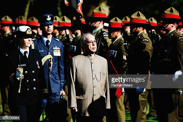 Indian President Shri Pranab Mukherjee inspects the New Zealand guard of honour during a ceremony of welcome at Government House on April 30 2016 in...