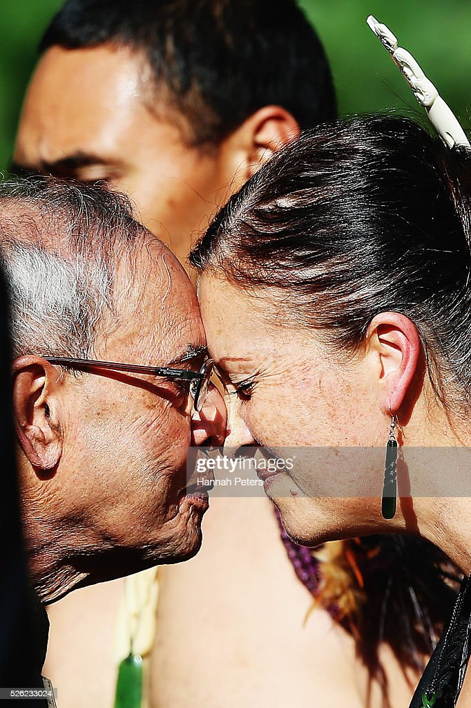 Indian President Shri Pranab Mukherjee receives a hongi from a Maori warrior during a ceremony of welcome at Government House on April 30, 2016 in Auckland, New Zealand. It is the first time an Indian President has visited New Zealand.
