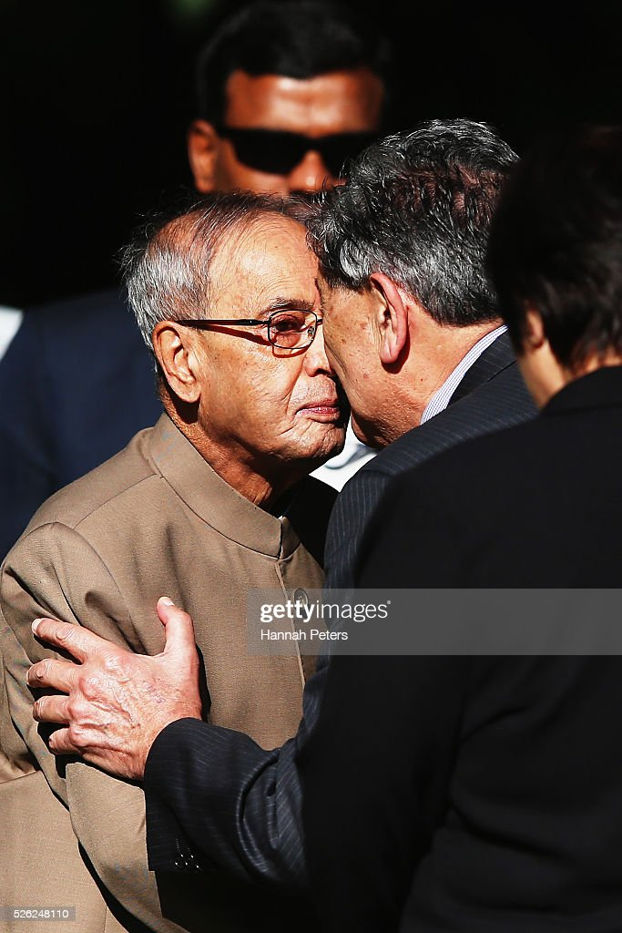 Indian President Shri Pranab Mukherjee receives a traditional Maori hongi during a ceremony of welcome at Government House on April 30, 2016 in Auckland, New Zealand. It is the first time an Indian President has visited New Zealand.