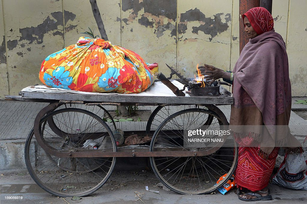 Indian 'press wallah', Dulari warms her hands as she prepares a charcoal iron with which to iron clothes at the roadside in Amritsar on January 7, 2013. The northern Indian city of Amritsar faces severe cold conditions with the temperature dipping towards the zero degree celsius mark.