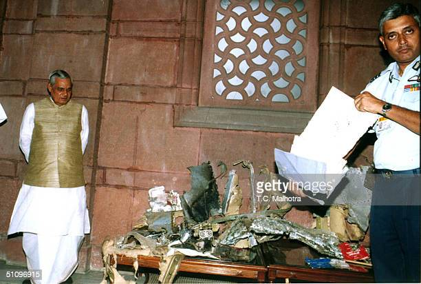 Indian Prime Minister Atal Behari Vajpayee Views The Wreckage Of The Pakistani Naval Aircraft At His New Delhi Office On August 11 1999 India Said...
