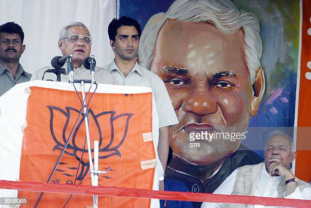 Indian Prime Minister Atal Behri Vajpayee addresses the crowds gathered at an election rally at the winter capital of the Indian state of Jammu and...
