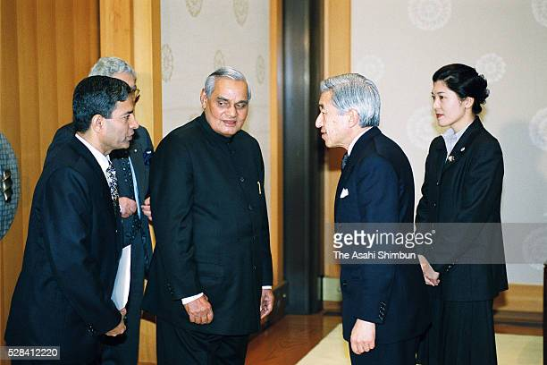 Indian Prime Minister Atal Bihari Vajpayee and Emperor Akihito greet prior to their meeting at the Imperial Palace on December 11 2001 in Tokyo Japan