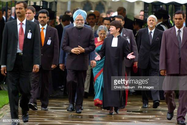 Indian Prime Minister Dr Manmohan Singh and his wife Gursharan Kaur are greeted by Vice Chancellor Alison Richards at Cambridge University where the...