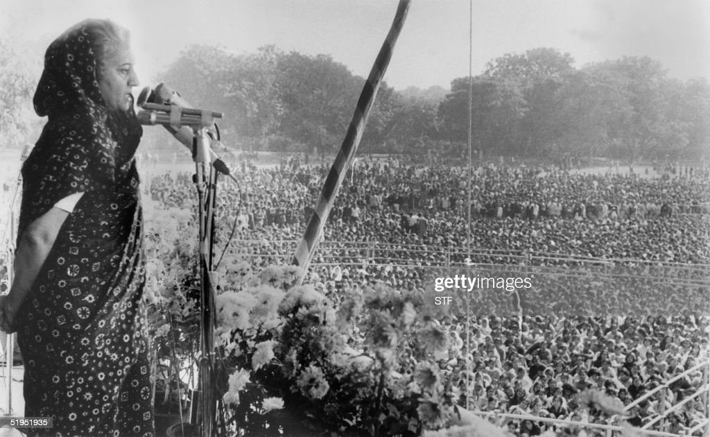 Indian Prime minister Indira Gandhi adresses to the crowd of students at New Delhi on December 1971