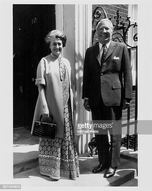 Indian Prime Minister Indira Gandhi and British Prime Minister Edward Heath posing outside 10 Downing Street London June 25th 1973