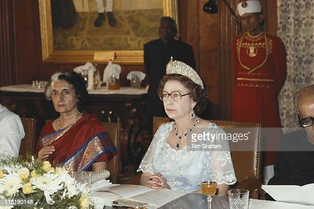 Indian Prime Minister Indira Gandhi and Queen Elizabeth II attending a banquet in Delhi India 18 November 1983 The Queen was on a nineday State Visit...